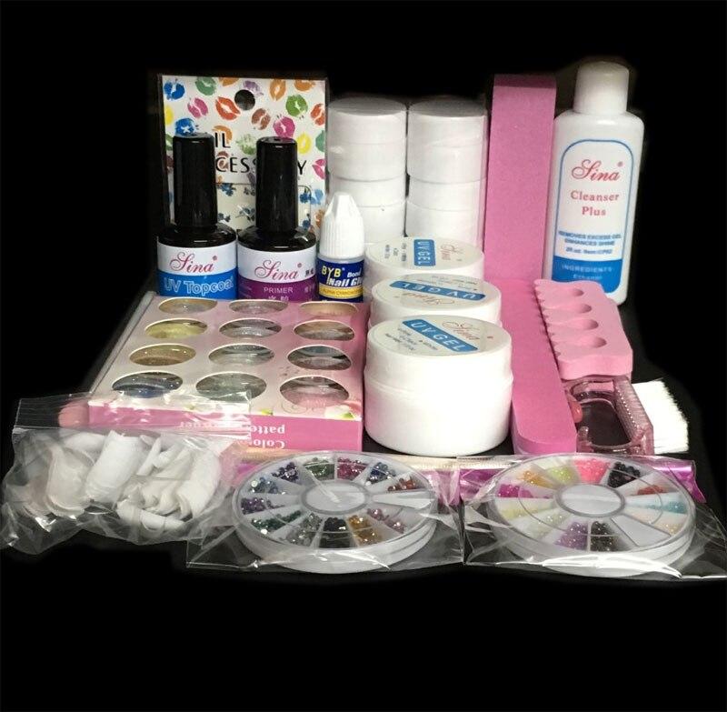 EM-76Professional Full Set 12 color UV Gel Kit Brush Nail Art Set + 36W Curing UV Lamp kit Dryer Curining Tools em 123 free shipping pro full 36w white cure lamp dryer