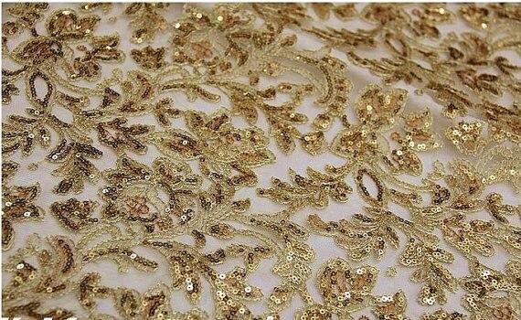 Tela del cordón del oro, lentejuelas bordado encaje para el vestido ...