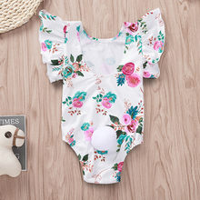 Fashion girls floral print pom-pocket ruffled jumpsuit children's flying sleeves flower prints small ball tail robes jumpsuit(China)