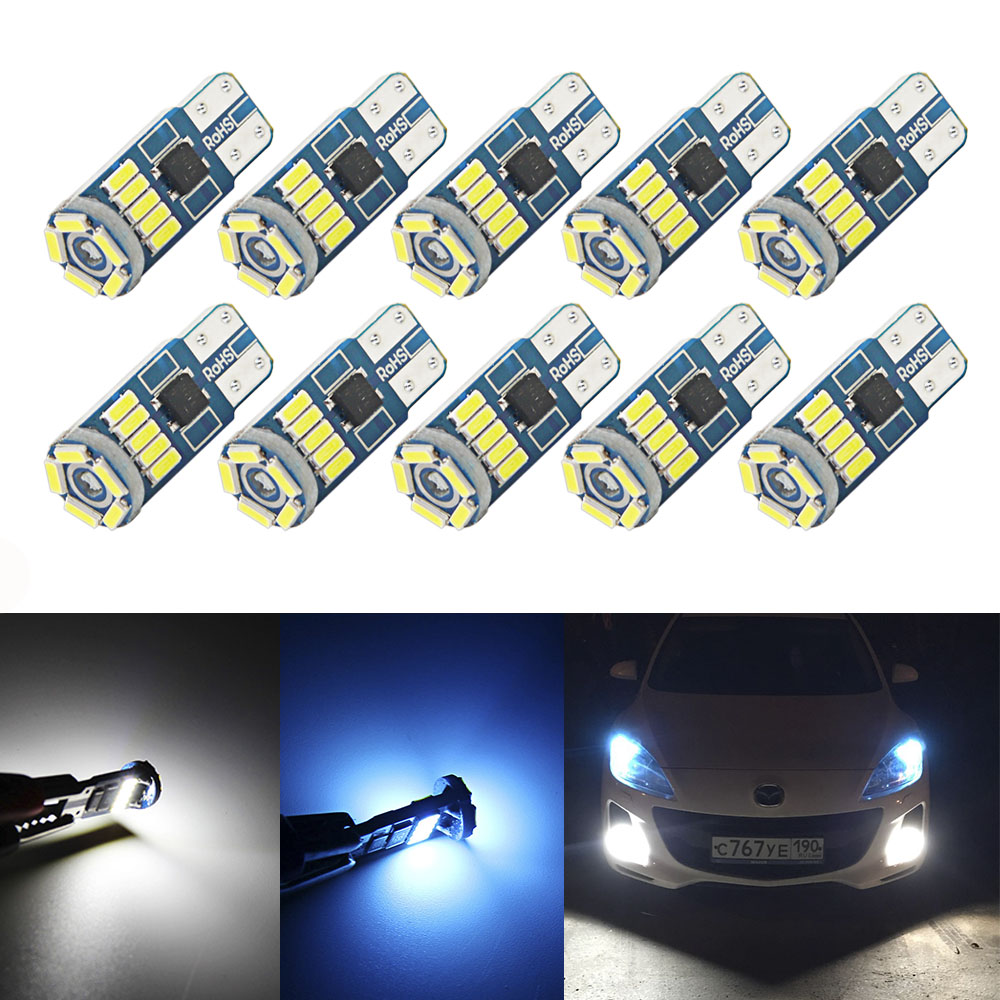 10Pcs W5W SMD Car T10 LED 194 168 Wedge Instrument Panel Lamp White Crystal Blue Reading Clearance Light Bulbs For Car Lights-in Signal Lamp from Automobiles & Motorcycles