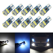 10Pcs W5W SMD Car T10 LED 194 168 Wedge Instrument Panel Lamp White Crystal Blue Reading Clearance Light Bulbs For Car Lights