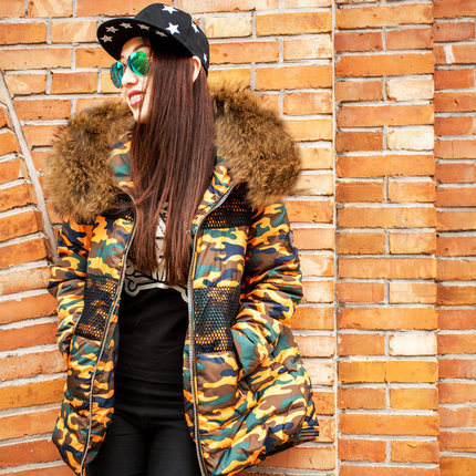 2015 New High Quality Women Winter Thick Warm Coat Slim Large Raccoon Fur Collar Down Parka Camouflage Jackets Overcoat H4614 mini wireless bluetooth 4 0 stereo headset earphone headphone for iphone for samsung