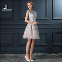 LOVONEY 2017 Elegant A Line O Neck Short Evening Dress Gown Formal Dresses Prom Party Dresses Robe De Soiree T402