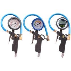 Samochód LCD cyfrowy 0 220PSI ciśnienie powietrza w oponach ciężarówka wskaźnik inflatora licznik czasu Tester manometr przyrząd pomiarowy w Manometry od Narzędzia na