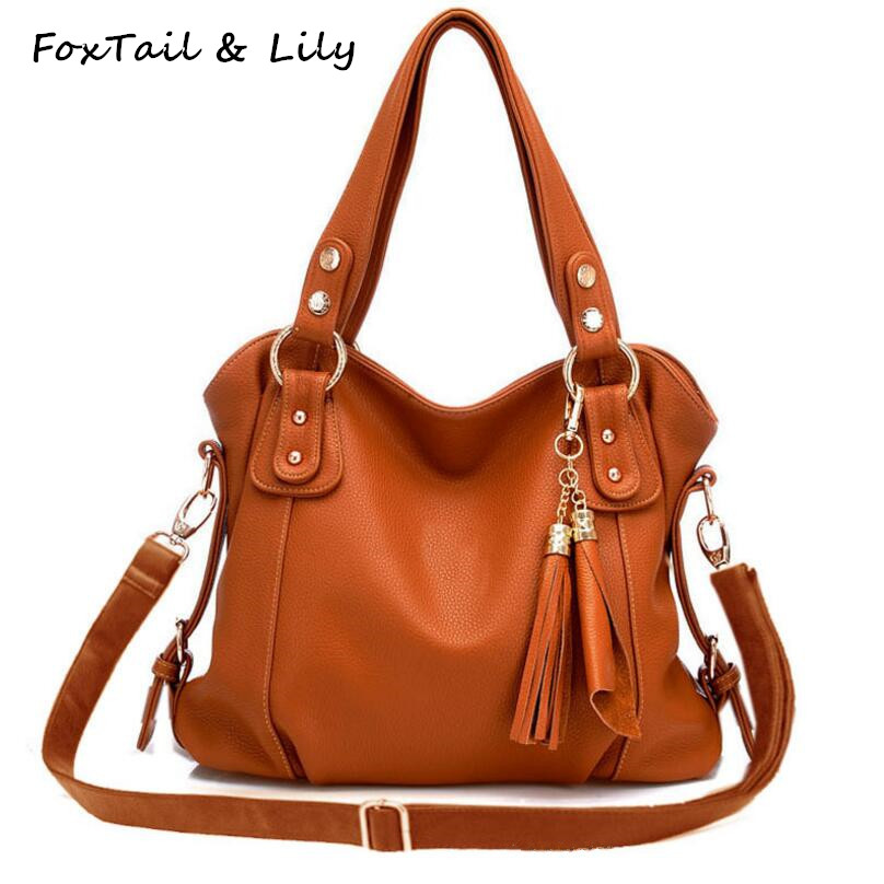 FoxTail & Lily Women Tassel Genuine Leather Handbags Composite Cowhide Shoulder Bags Ladies Designer Crossbody Bag High Quality chispaulo women genuine leather handbags cowhide patent famous brands designer handbags high quality tote bag bolsa tassel c165