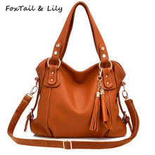 FoxTail & Lily Women Tassel Genuine Leather Handbags Composite Cowhide Shoulder Bags Ladies Designer Crossbody Bag High Quality
