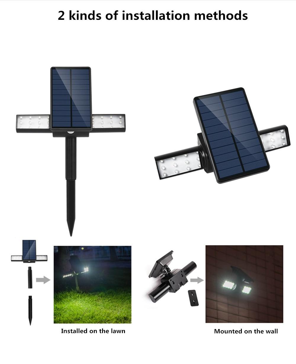 Newest Design Solar Wall Light 24 LED 2000mAh Auto PIR Motion Sensor Garden Wall Solar Lamp For Outdoor Waterproof Lighting