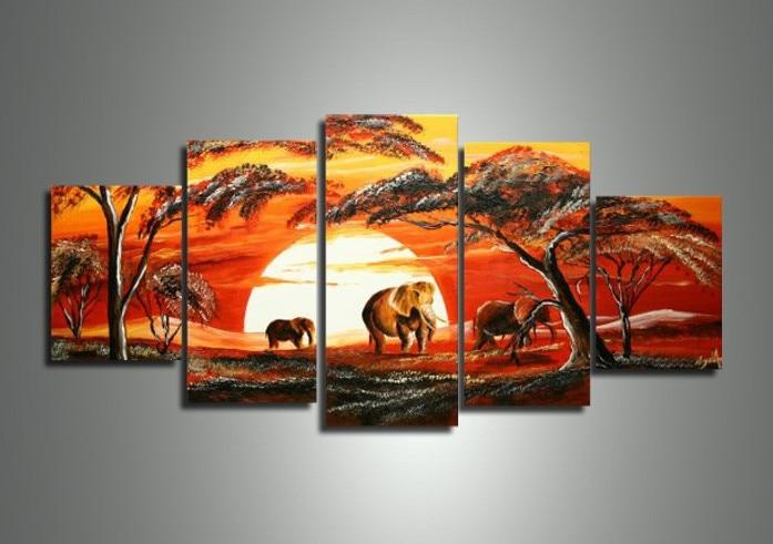 Five Piece Canvas Wall Art modern free african art promotion-shop for promotional modern free