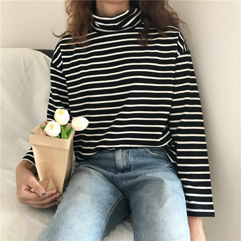 Korea 2019 ulzzang Harajuku retro einfache gestreiften kragen lange ärmeln T-shirt GD paar paar herbst mode voll T-shirt