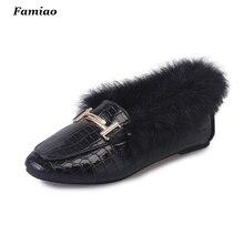 New 2016 Winter Women Flats Shoes Real Rabbit Fur Shoes Woman Fashion Crocodile pattern Warm Women's Shoes Casual Loafers