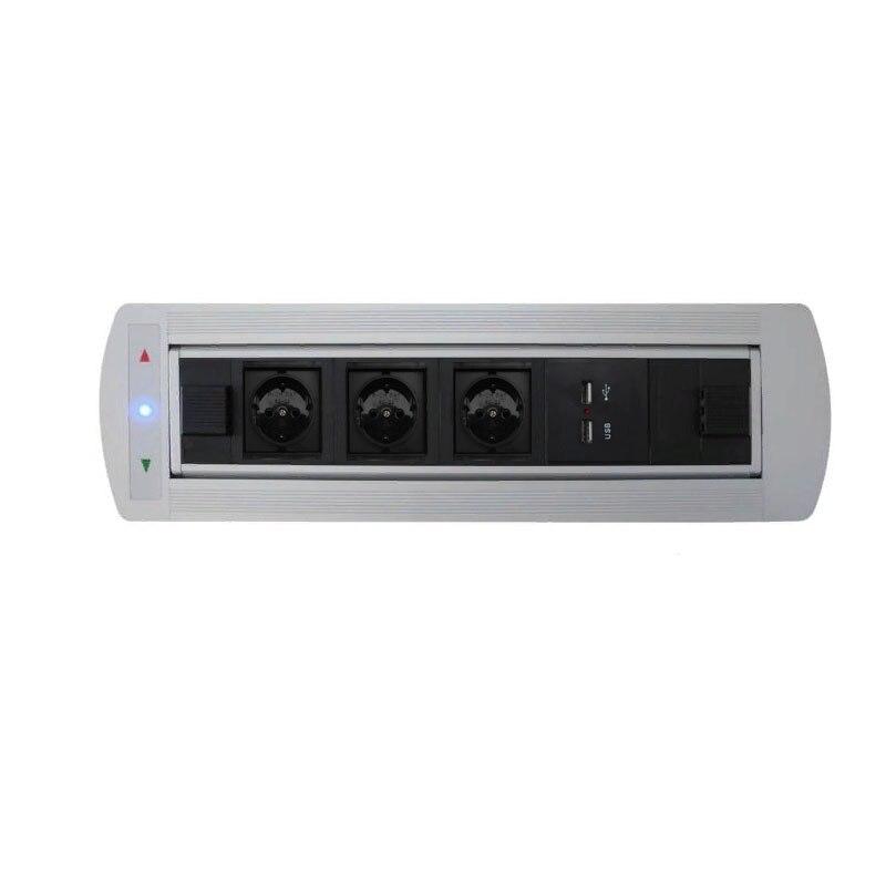 Rotation de retournement électrique automatique prise 180 degrés 3 prises de courant EU + Ports de chargeur USB - 2