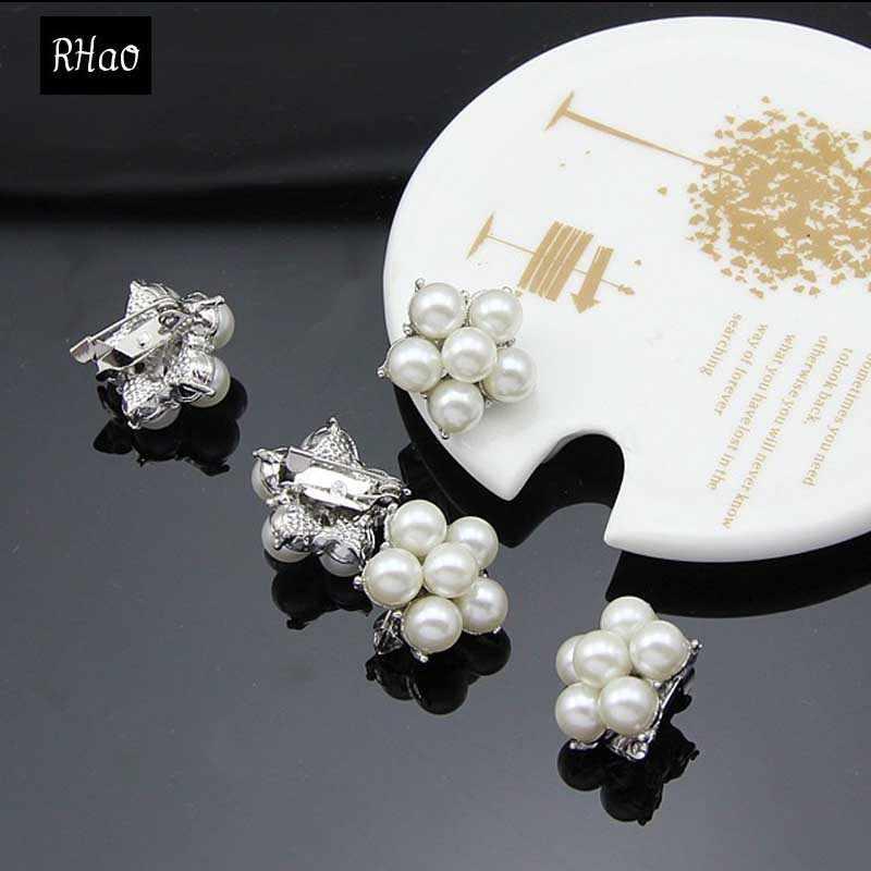 新しいスタイルrhao真珠のブローチ小さなサイズシルバーメッキ真珠のブローチピン用女性襟スカーフピンヒジャーブピン女性ピン