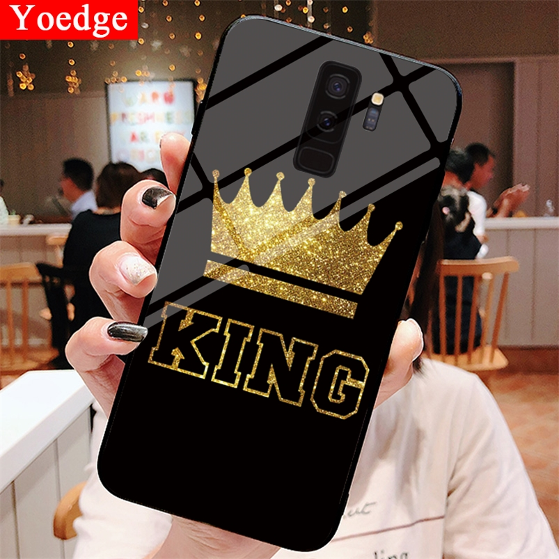 Tempered Glass Luxury King <font><b>Case</b></font> For <font><b>Samsung</b></font> Galaxy S8 S9 S10 M10 M20 A30 A40 A50 A70 J5 <font><b>J7</b></font> <font><b>2017</b></font> J4 J6 A6 Plus A8 A9 A7 2018 Capa image