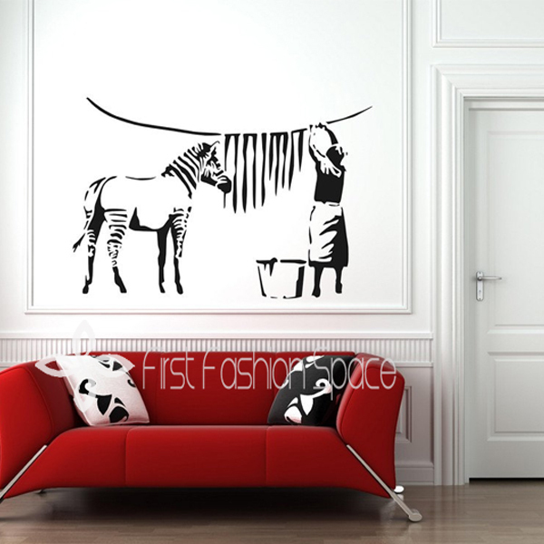 Free Shipping Large Size 60x90cm Banksy Zebra Stripes Wash Wall Sticker Art  Stickers Vinyl Decals Home