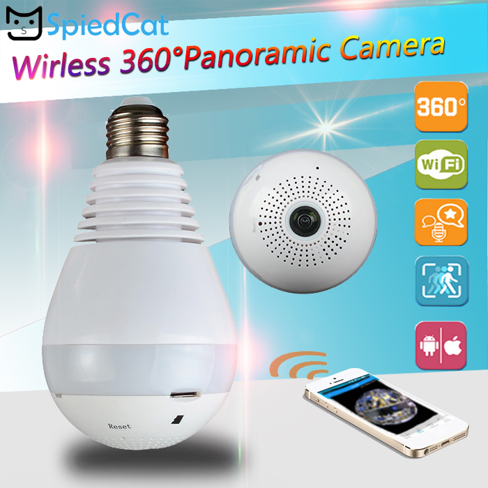 1.3MP 960P 360 Degree Panoramic Wireless Wifi IP E27 Bulb Light FishEye Smart Home Security CCTV 3D VR Camera Support TF Card