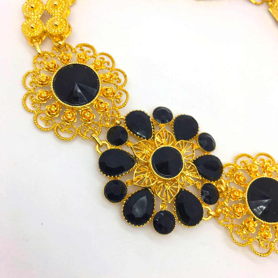 2019 Bridal Fashion Dubai Gold Jewelry Sets for Women  African Big Flowers Necklace Earrings Jewellery  Nigerian Wedding  Gift