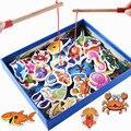 Nuevo 32 Unids Conjunto de Peces de Juguete de Pesca Magnético de Madera Tablero de Juego de Los Peces Bebé Niños Juguetes Educativos Niño de Cumpleaños/Navidad regalo