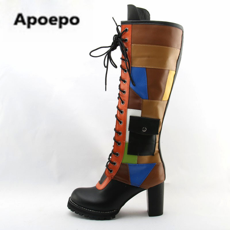 2018 Women Pocket Mixed Colors Cow Leather Lace up Martin Boots Women Patchwork Knee High Chunky Heels Botas Winter Long Boots пуф patchwork colors