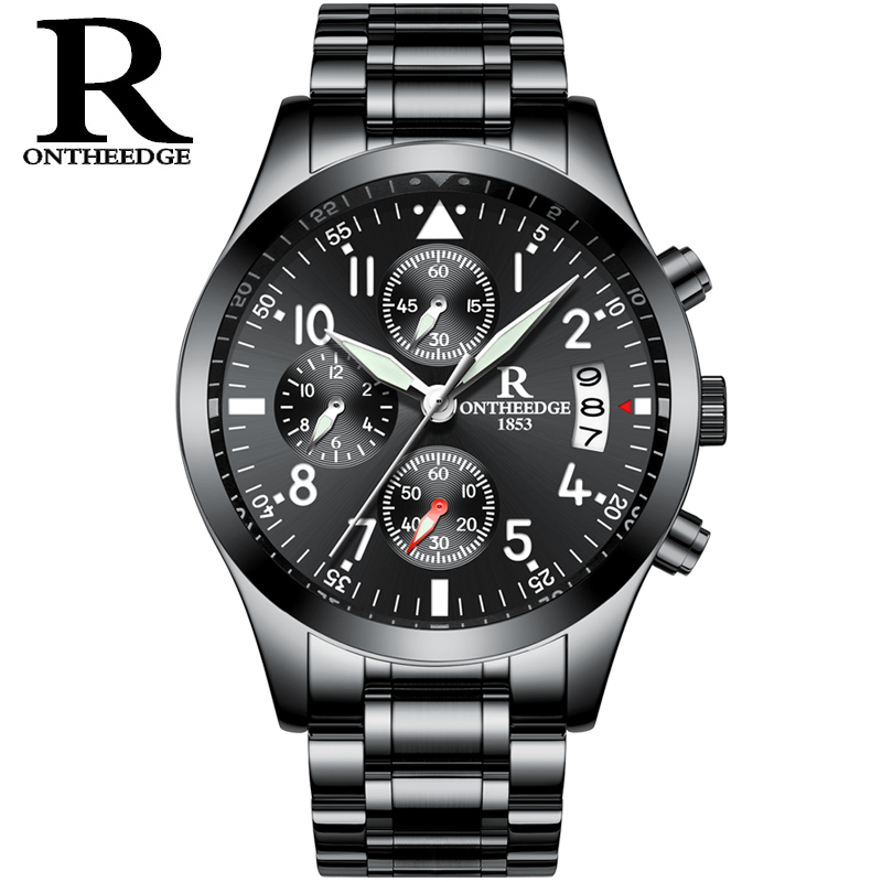 Mens Watches Top Brand Luxury RONTHEEDGE Fashion Quartz Watch Men Waterproof Full Steel Gold Wristwatches relogio masculino new fashion mens watches gold full steel male wristwatches sport waterproof quartz watch men military hour man relogio masculino