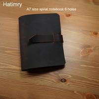 Hatimry Genuine leather A7 size notebook journal travelers handmade notebook 6 holes sparil books school supplies passport book Notebooks    -
