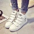 Verão maré de moda para ajudar sapatos femininos gancho velcro diamante plana sapatos único lazer sapatos zapatos mujer branco estudantes