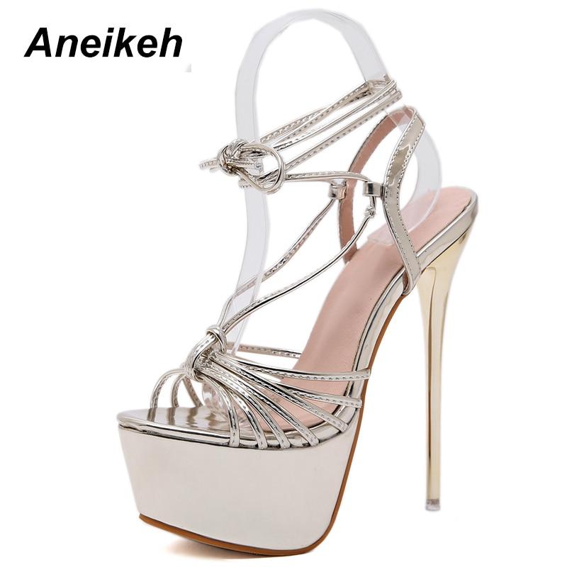 Aneikeh meilleures ventes sandales d'été femmes plate-forme chaussures Sexy 16 CM talons hauts bout ouvert boucle discothèque gladiateur chaussures pompes
