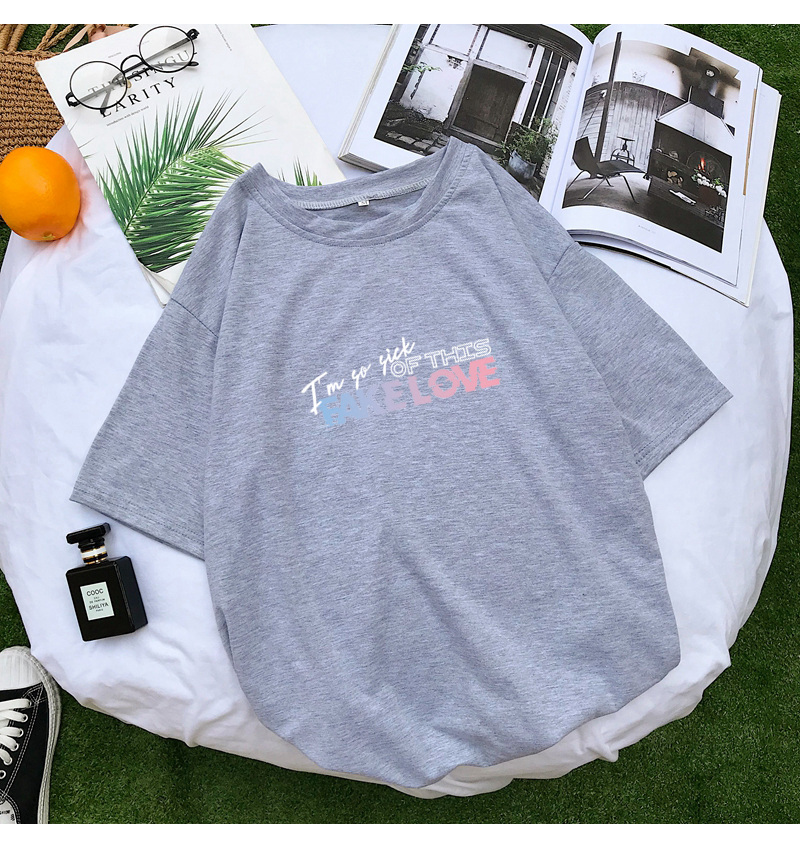 BTS Kpop Fake Love Letter Print Summer T Shirt Women Short Sleeve Fashion Casual Harajuku Tshirt Streetwear Tee Shirt Femme Tops (9)