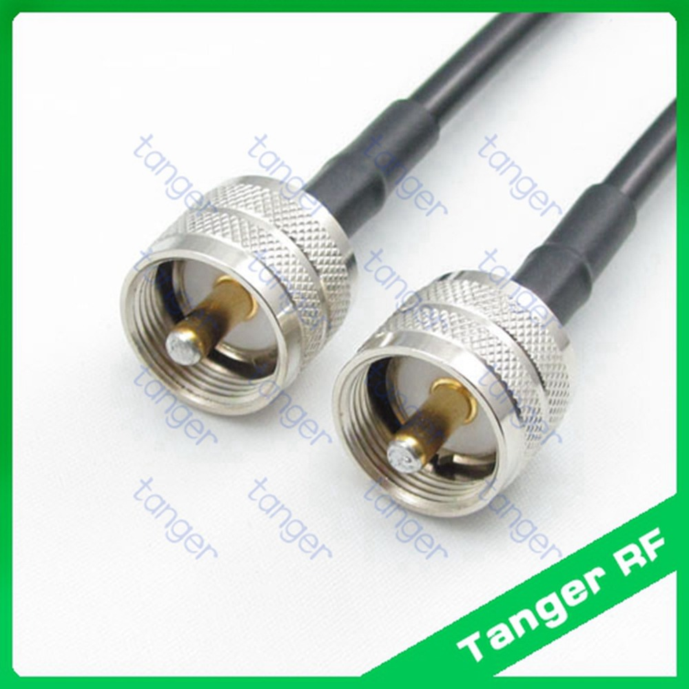 Hot sale Tanger UHF male plug PL259 SL16 to UHF male plug straight RF RG58 Pigtail Jumper Coaxial Cable 3feet 100cm high quality цена