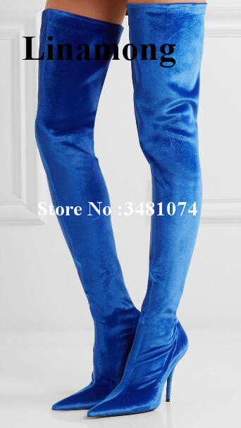 Solid Flock Thigh High Women Long Boots Patchwork Thin Heels Pointed Toe Boots Slip-On Thin And High Thin Heel Women Long Boots studded heels sexy high heel super high thin heels pointed toe shiny crystal decoration slip on women casual