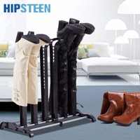 HIPSTEEN Three Pairs Heightening Knee length Boots Storage Organizer Standing Boot Rack Black