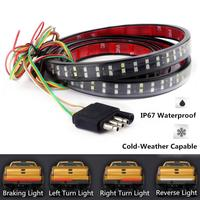 60Inch/150CM LED Tailgate Light Bar w/Sequential Amber Turn Signal 264 LED Solid Beam Weatherproof No Drill Install Full