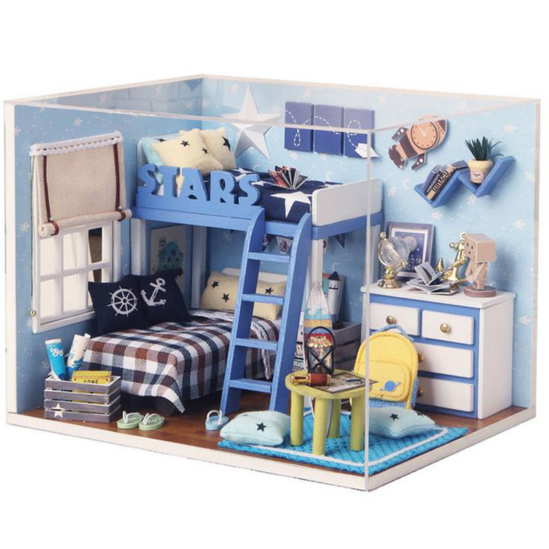 DIY 3D Wooden Blue Dollhouse Miniature Girl s Bedroom Model Kit With Cover  And LED Light Furnitures. Online Buy Wholesale bedroom furniture kits from China bedroom