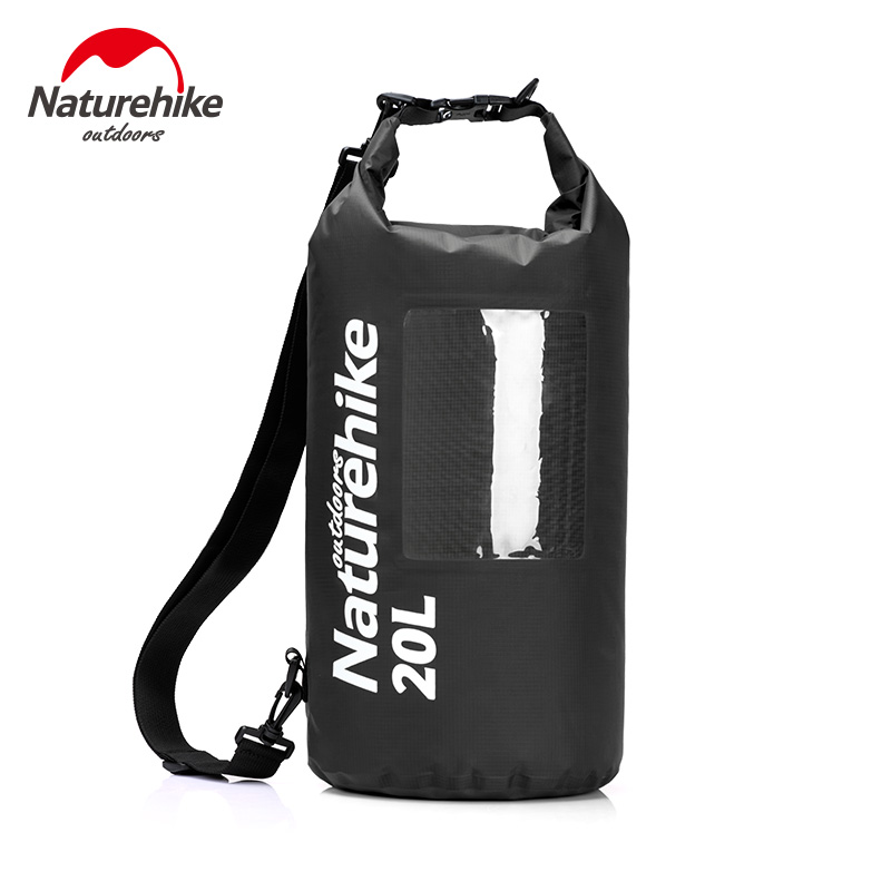 Naturehike 20L Ultralight View Dry Bag With Window TPU Pack Waterproof Bag Sack Single Shoulder For Kayaking Rafting Camping