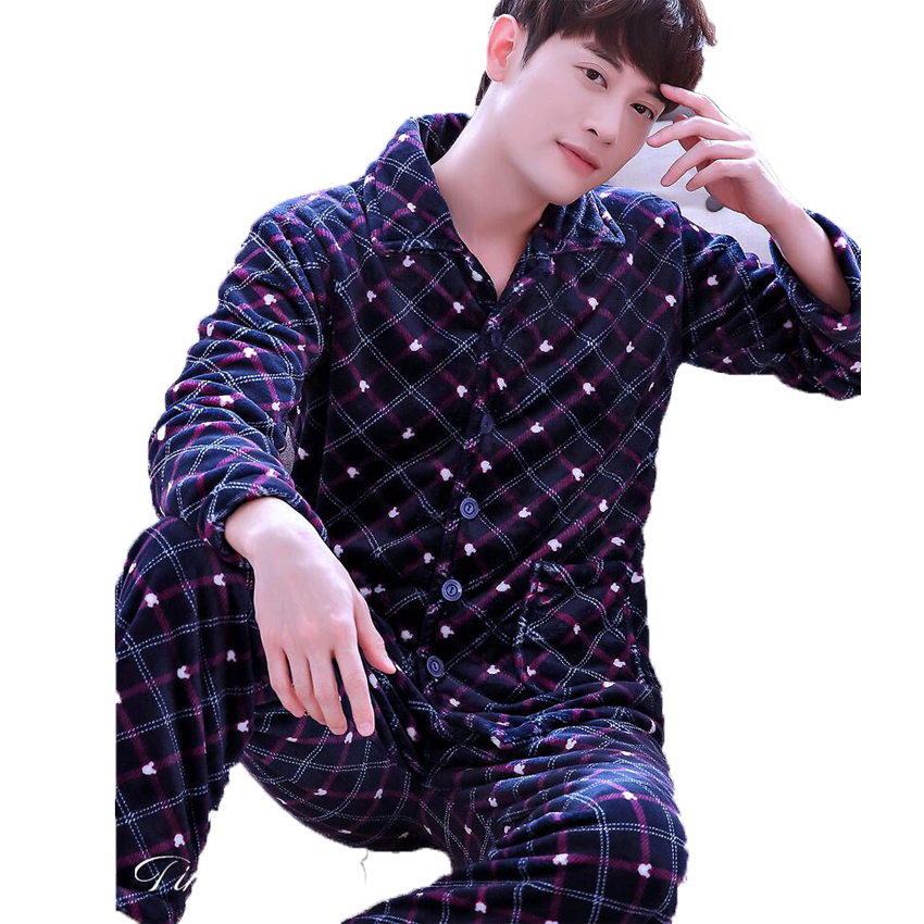 Winter Mens Pajama Sets luxury cardigan Long Sleeve sleepwear for men nightwear Thick Warm Coral Velvet pyjama Male Homewear