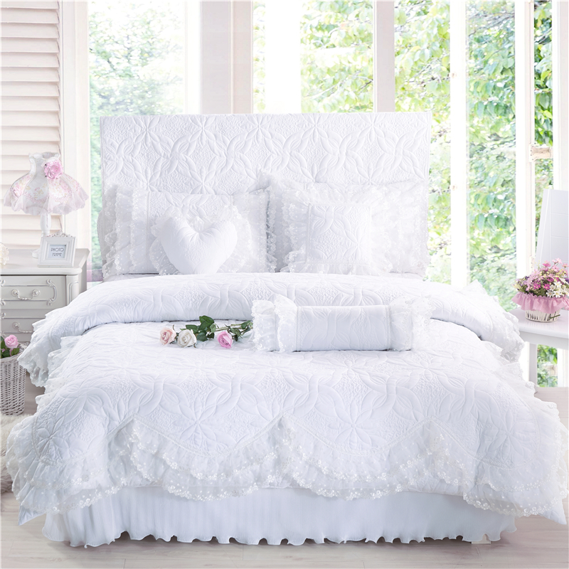 100%Cotton Thick Quilted lace Bedding set 4/7Pcs King queen Twin size Princess Korean Girls Bed skirt set Pillow shams27