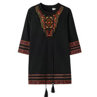 Folk Style Luxury 2017 Nail With Bead Dress Winter Party Women Christmas Sexy Tassels Embrodiery Beading