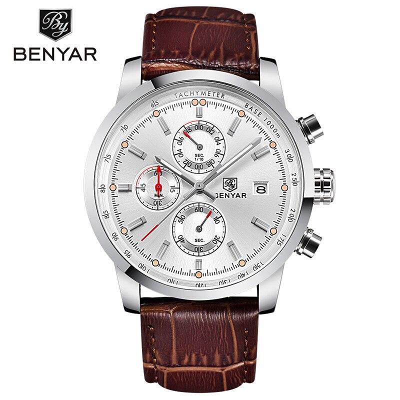 BENYAR Fashion Men's Watches Analog Quartz Wristwatch Waterproof Chronograph Auto Date Leather Band Relogio Masculino