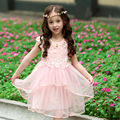 Kids Girls Dresses for Party and Wedding 2016 Summer New Layered Princess Dress for Girls Costume Children Clothes Vestido Pink