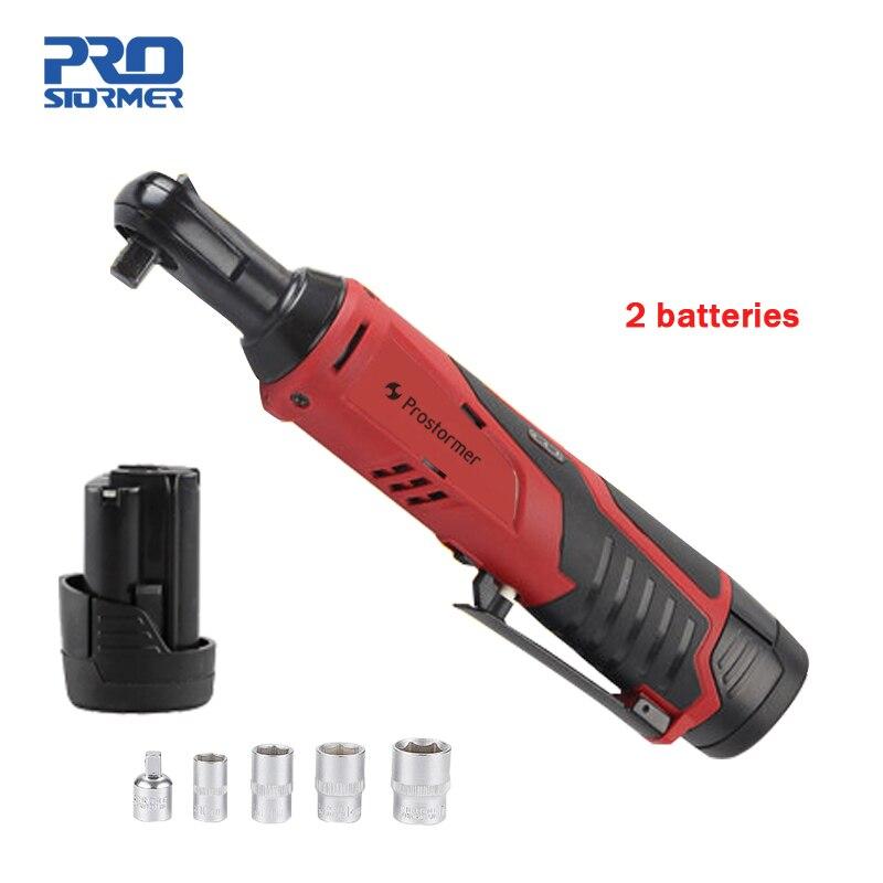 Prostormer 12 В перезаряжаемый ключ с трещоткой 2 литиевые батареи 90 градусов электрический ключ портативный Быстрый заряд гаечный ключ сценичес...