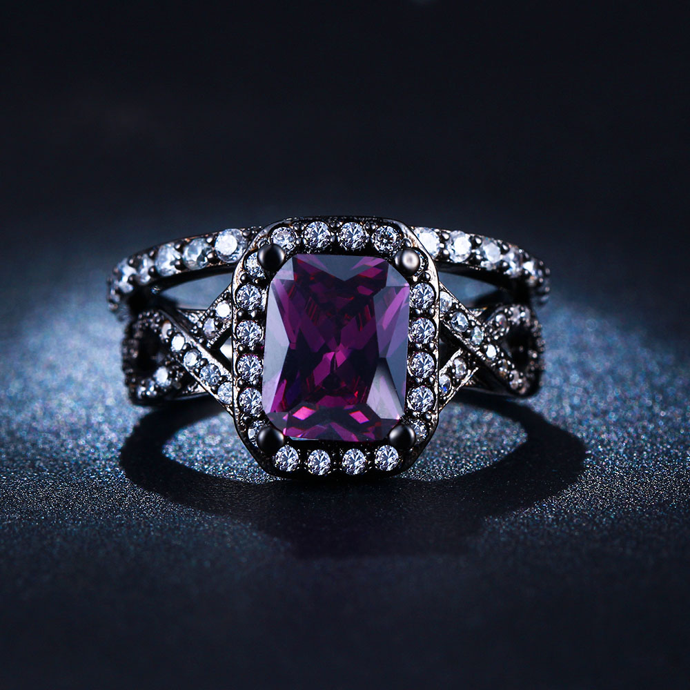 hot women black gun ring sets square purple zircon new lady jewelry finger ring sets factory party gift design