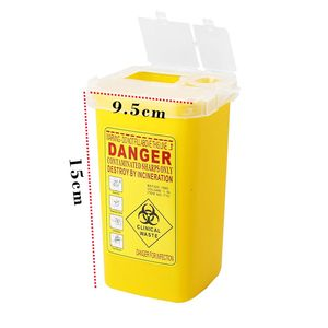 Image 2 - 1PC קעקוע רפואי קיבולת פלסטיק חד מיכל Biohazard מחט Disposale פסולת תיבת אחסון קעקוע ציוד אבזרים