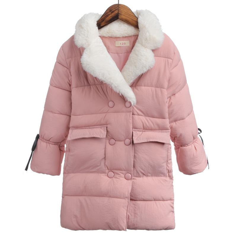 New High Quality Children Winter Jacket Girls Winter Coat Kids Warm Thick Fur Collar Hooded Long Down Coats For Teenage Girls 12 children jacket print flower thick warm faux fur coat kids pretty winter hooded button long jacket for girls autumn girls coat