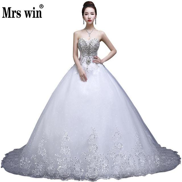 Strapless Diamond Wedding Dresses 2018 New Sexy Long Trailing Princess Lace  Crystal Luxury Wedding Ball Gown Vestido De Noiva f83db130d328