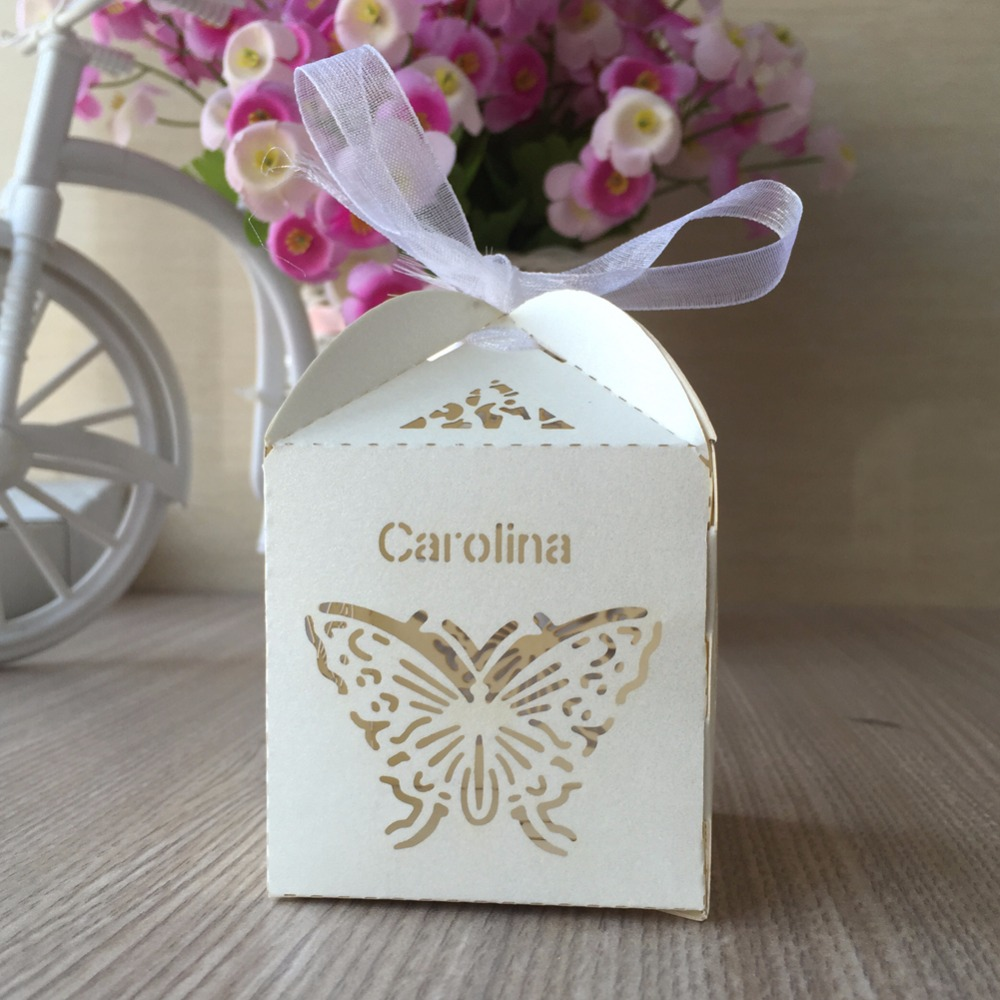 100pcs Customized name wedding Party Candy Chocolate Box Gift Boxes ...