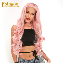 Ebingoo Long Natural  Wave Pink Synthetic Lace Front Wigs for Women  High Temperature Fiber for Cosplay 26 Inch