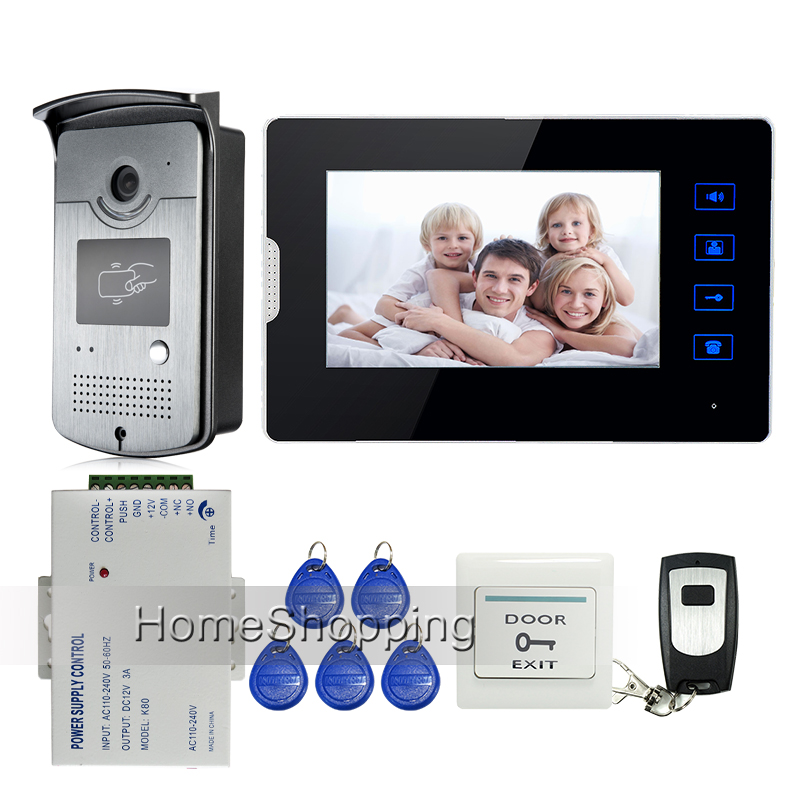 Wired 7 Touch Screen Video Door Phone Intercom System 1 Monitor + Waterproof RFID Access Camera 12V Power Supply FREE SHIPPING free shipping 7 screen video intercom door phone system white monitor outdoor rfid access doorbell camera power remote