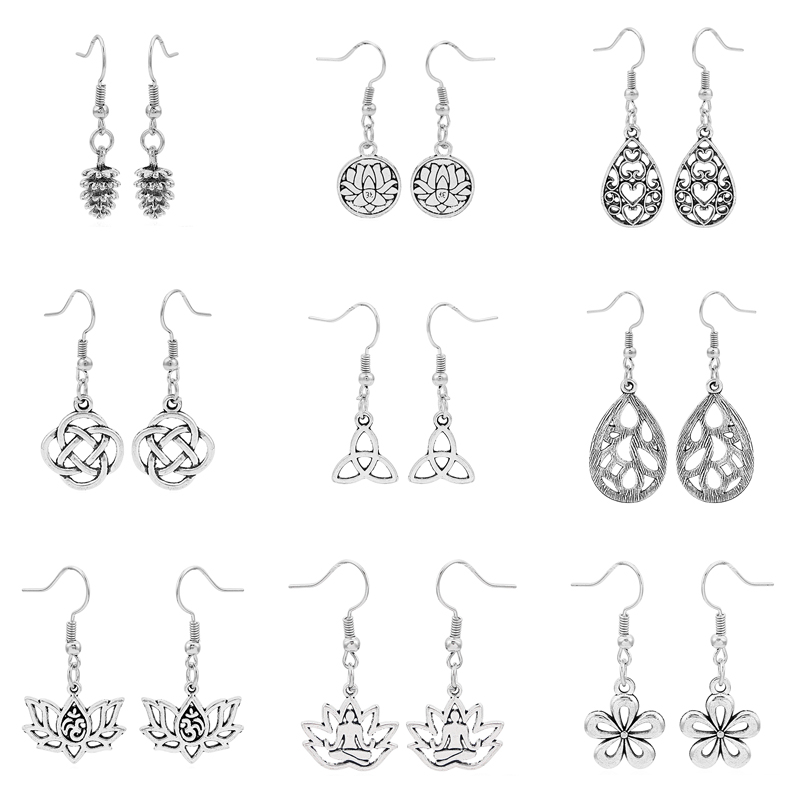 2pair Fashion Jewelry Flower,Om Ohm Yoga Lotus,Ancient Knot,Water Drop Charms Pendant Dangle Drop Earring Jewelry