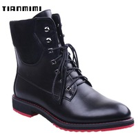 TIANMIMI Dr Martens Black Platform Women Ankle Boots Red Bottom Thick Flat Shoes For Ladies Style Laceup Autumn Winter Booties