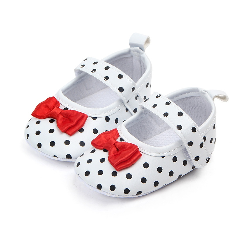 Baby Girl Shoes Polka Dots PU Baby Shoes Princess Soft Sole Anti-slip Party Baby Girls First Walkers