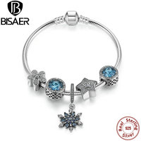 Original 925 Sterling Silver With Beads Charm Chain Link Bracelet Bangle Women Compatible With Fashion Sterling